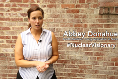 Woman with text that says Abbey Donahue #NuclearVisionary
