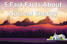 A nuclear power plant with the title that reads 5 Fast Facts about Nuclear Energy