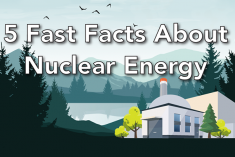 Photo of a nuclear power plant with text that reads five fast facts about nuclear energy.