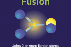 Graphic that shows a diagram and facts on fusion.