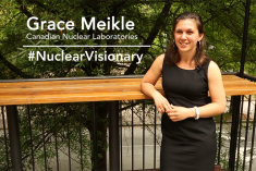 Woman on screen with text that says Grace Meikle Candian Nuclear Laboratories #Nuclear Visionary