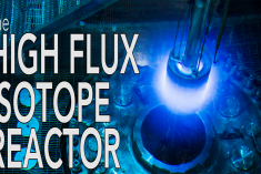 Photo of a reactor with the title high flux isotope reactor over the photo.
