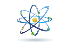 A picture of an atom logo used for the Office of Nuclear Energy