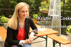 Woman with text that says Kristin McCoskey #Nuclear Visionary