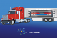 A picture of a truck with a microreactor on the back.