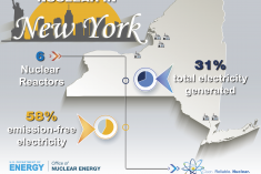 Graphic that highlights stats about New York and nuclear energy in terms of total electricity generated and emission-free electricity.