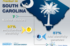 State of South Carolina that shows where each nuclear reactor is located.