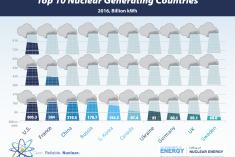 Bar graph that shows the 2016 Top 10 Nuclear Generating Countries