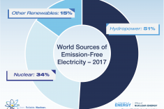 Circle graphic that shows 2017 World Sources of Emission Free Electricity