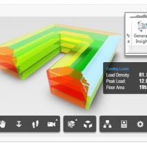 With Insight 360, Revit and FormIt 360 Pro users can use EnergyPlus to calculate building heating and cooling loads and map the results onto the model for easy identification of high load zones and spaces. Image credit: Autodesk.