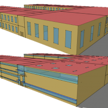 """A before-and-after image of the OpenStudio Measure """"AEDG K-12 school daylighting package"""" demonstrates the surgical power of Measures. Source: NREL."""