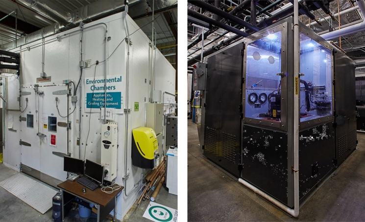 Left: Environmental chamber to evaluate the performance of air-conditioning systems. Right: Compressor Calorimeter at ORNL. Source: ORNL.