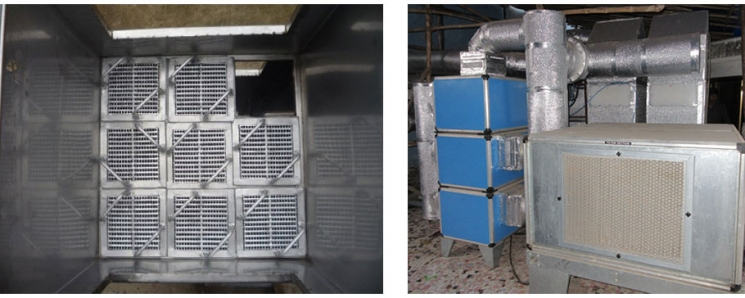 Nine core module (left) and overall assembly (right) for 2000 cfm Indirect Evaporative Cooling based Dedicated Outdoor Air System (DOAS) with two modules in a field test unit at Indian Institute of Technology (IIT) Bombay.