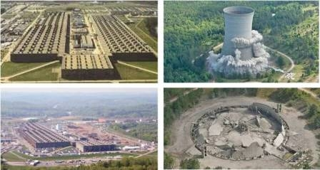 Above on the left is K-25, at Oak Ridge before and after the 844,000 sq-ft demolition. In addition, on the right: K Cooling Tower at Savannah River Site demolition.