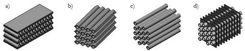 (a) Finned Microchannel (MCHX);<br /> (b) Web-Tube (WTHX) (Abdelaziz et. al., 2010); <br /> (c) Round Bare Tube (BTHX);<br /> (d) Plain Fin-and-Tube (FTHX).<br /> Credit: Oak Ridge National Lab