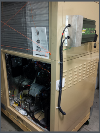 Multi-Function Fuel-Fired Heat Pump prototype showing generator for auxiliary system power  Top: 24V DC to 120V AC transformer Bottom: New low cost generator ($500)