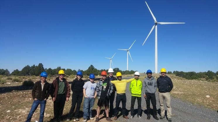 Team members at the Perrin Ranch Wind Farm.