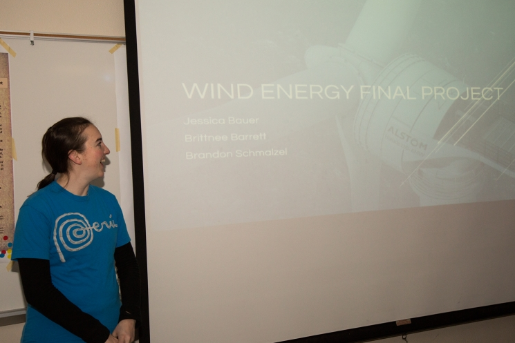 Team member Jessica Bauer presenting in a Wind Engineering class.