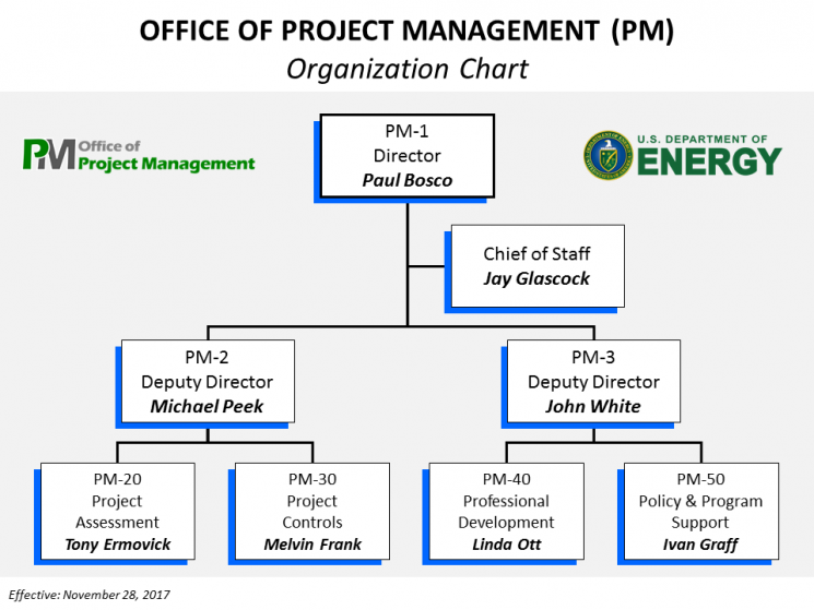 Organization chart for the office of project management department