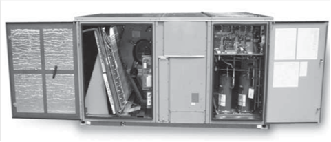 A typical commercial rooftop air-conditioning unit (RTU)
