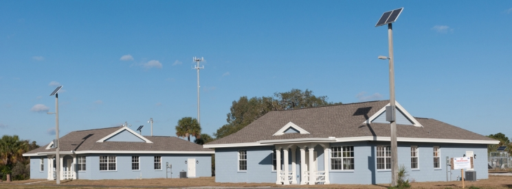 In addition to occupied test homes, research will be conducted in highly instrumented laboratories with simulated occupancy. Shown here are the two identical, side-by-side test homes that comprise FSEC's Flexible Residential Test Facility. Photo courtesy of Florida Solar Energy Center.