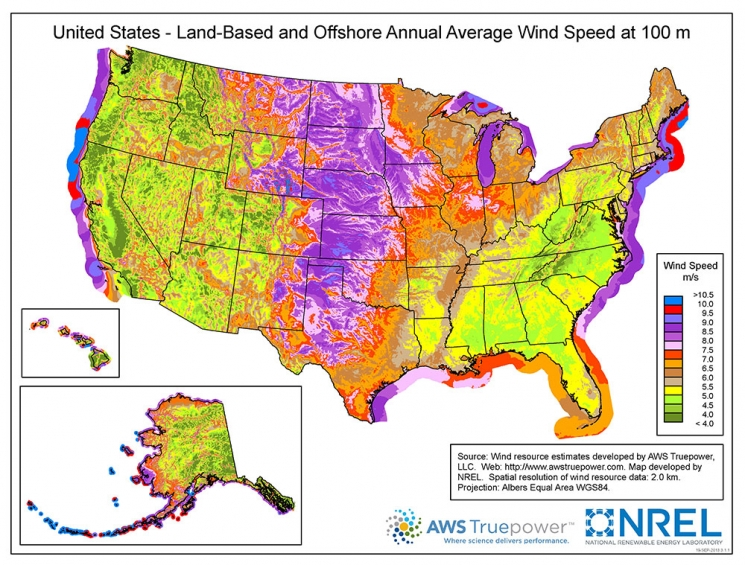 United States - Land Based and Offshore Annual Average Wind Speed at 100 Meters