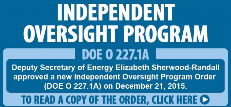 Independent Oversight Program Order approved by Deputy Secretary