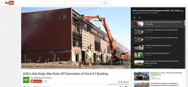 EM Presents Video Highlights of Cleanup Across DOE Complex in YouTube Playlist