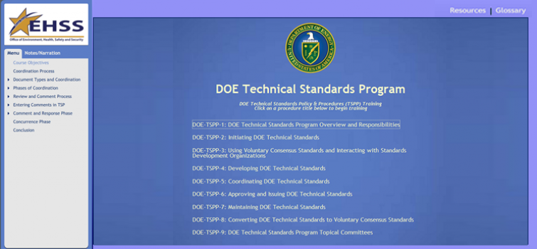The Technical Standards Program Procedures (TSPPs) video Tutorial modules available