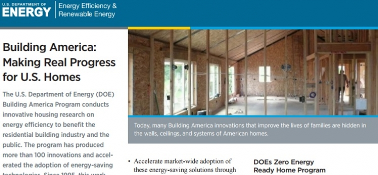New Building America Fact Sheet Highlights Program