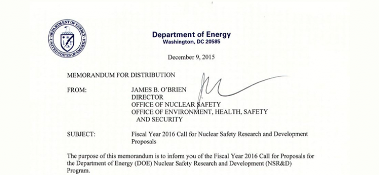 2016 Call for Proposals for the Department of Energy (DOE) Nuclear Safety Research and Development (NSR&D) Program