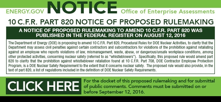 10 C.F.R. Part 820 Notice of Proposed Rulemaking