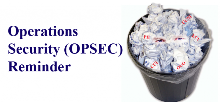 Operations Security (OPSEC) Reminder