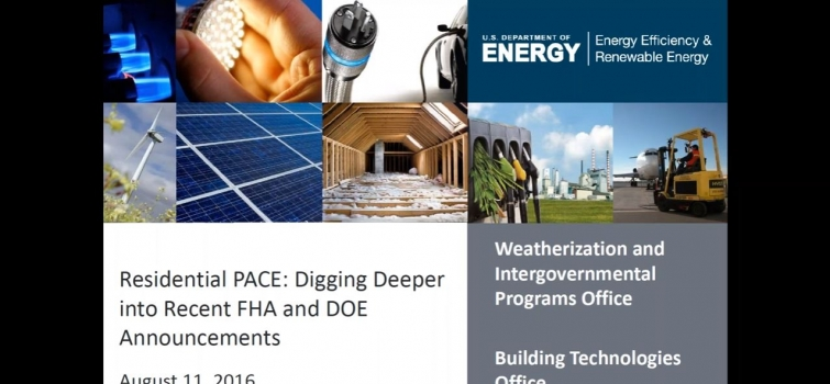 Residential PACE Webinar Video and Presentation Now Available
