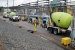 Grouting of two Savannah River Site waste tanks began in August. Here, the first trucks with grout arrive at F Tank Farm.