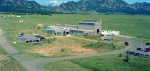 Aerial view of the the National Wind Technology Center, with the Rocky Mountains in the background.