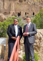 EM Acting Assistant Secretary Mark Whitney, right, with Santa Clara Gov. J. Michael Chavarria at the Puye Cliffs.