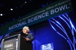 Secretary of Energy Ernest Moniz encourages Science Bowl finalists to continue pursuing science, technology, engineering and mathematics (STEM).   Energy Department photo.