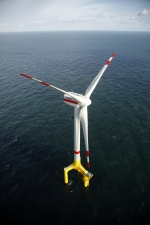 Offshore wind turbine BARD 5.0 installed on a transitional substructure from BARD Engineering GmbH at the offshore wind farm BARD OFFSHORE 1 in the German Bight.