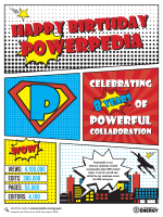 superhero themed graphic celebrating powerpedia birthday