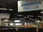 IACMI's nine-meter wind blade prototype sits on display in the center of the Innovation Pavilion at AWEA WINDPOWER 2017.