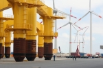 Offshore wind foundations await loadout.