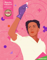 Illustration of Blanche Lawrence, a technician at the Met Lab during the Manhattan Project