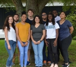 Savannah River Ecology Laboratory's 2018 undergraduate cohort: Front row, Laura Stabler-Tindal, Kaiya Cain, Heaven Tharp, Fredericka Tucker, and Sierra Britt; back row, Christian Moreno Gomez, Ryne Maness, Kristopher Weekes, and Trevaris Brown.