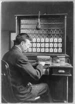 Herman Hollerith and his electronic tabulating machine.