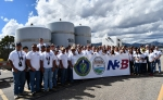 The waste management teams for the EM Los Alamos Field Office and N3B gathered to mark the completion of the first waste shipment from Technical Area 54's Area G at Los Alamos National Laboratory to the WIPP since WIPP resumed operations in January 2017.