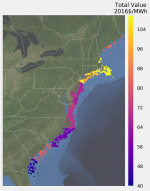 Map showing the total value, in 2016 dollars per MWh, along the United States eastern coastline.