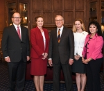 Representatives from Emory University, the Nuclear Threat Initiative, and NNSA join Georgian, Emory alumnus, and keynote speaker, Sen. Sam Nunn, center, NTI co-chair.
