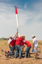 Researchers at the Kansas City National Security Campus (KCNSC) ready a rocket for launch. Test engineers have begun to use research rockets to develop the technical knowledge required to improve weapon