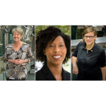 A photo of three women who all work in the nuclear energy industry.